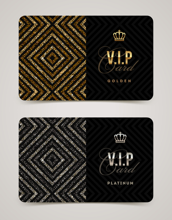 ribbon: VIP golden and platinum card template. Vector illustration.