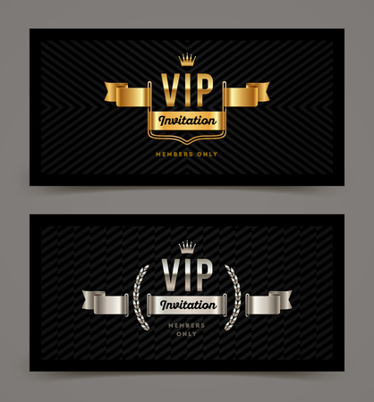 silver: VIP golden and silver invitation template. Vector illustration. Illustration