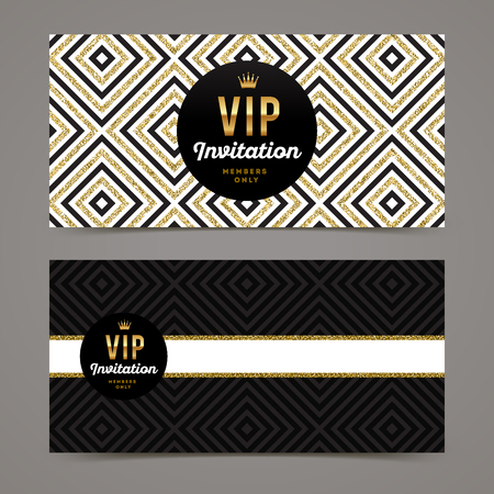 exclusive: Vector template design for VIP invitation with glitter gold geometric background. Illustration