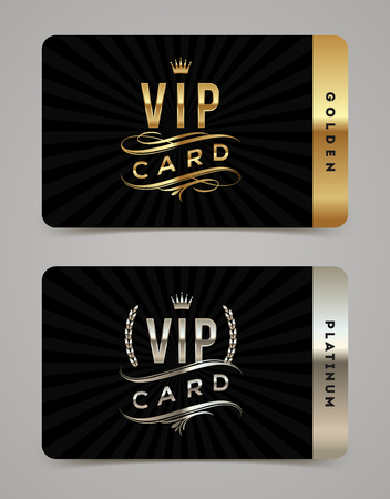 black background: Golden and platinum VIP card template - type design with crown, laurel wreath and flourishes on a black  background. Vector illustration.