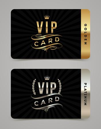 Plantilla de tarjeta de oro y platino VIP - tipo de diseño con corona, corona de laurel y florece sobre un fondo negro. Ilustración del vector.