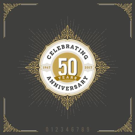 logo vector: Vintage Anniversary logo emblem with flourishes calligraphic ornamental elements.- vector illustration