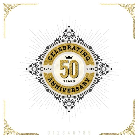 numbers: Vintage Anniversary logo emblem with flourishes calligraphic ornamental elements.- vector illustration
