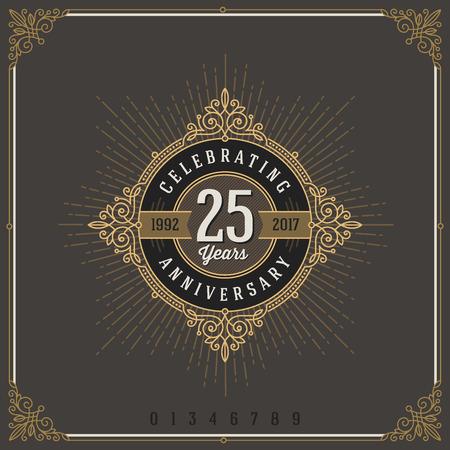 pattern: Vintage Anniversary logo emblem with flourishes calligraphic ornamental elements.- vector illustration