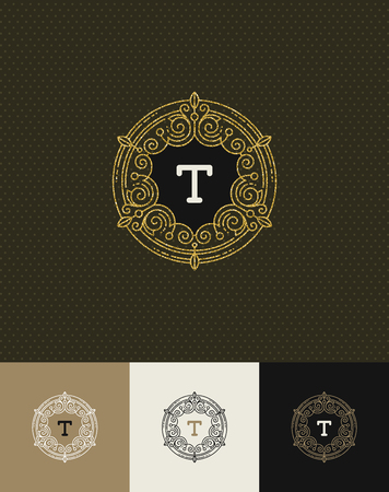 royals: Vector design - flourishes glitter gold monogram logo. Identity design for cafe, shop, store, restaurant, boutique, hotel, heraldic, fashion and etc. Illustration