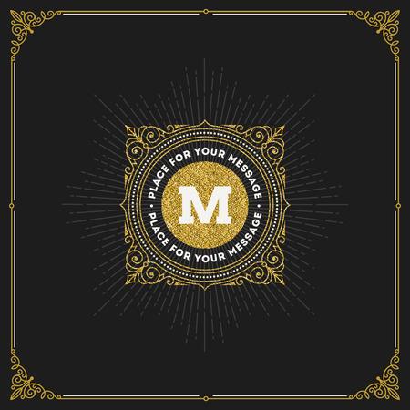 letter: Vector design - flourishes glitter gold monogram logo. Identity design for cafe, shop, store, restaurant, boutique, hotel, heraldic, fashion and etc. Illustration