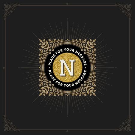 tipos de letras: Diseño vectorial - flourishes glitter gold monogram logo. Diseño de identidad para cafetería, tienda, tienda, restaurante, boutique, hotel, heráldico, moda y etc.