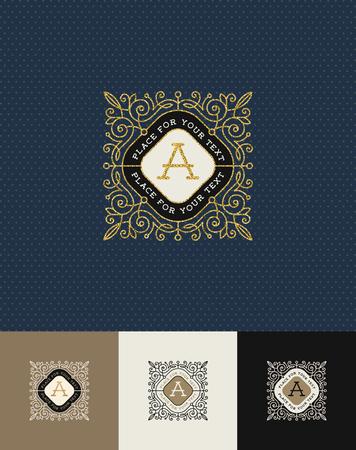 golden: Vector design - flourishes glitter gold monogram logo. Identity design for cafe, shop, store, restaurant, boutique, hotel, heraldic, fashion and etc. Illustration