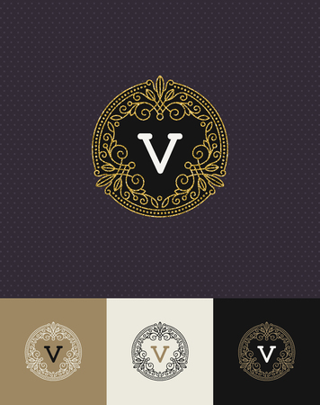 shine: Vector design - flourishes glitter gold monogram logo. Identity design for cafe, shop, store, restaurant, boutique, hotel, heraldic, fashion and etc. Illustration