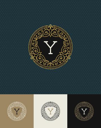 gold: Vector design - flourishes glitter gold monogram logo. Identity design for cafe, shop, store, restaurant, boutique, hotel, heraldic, fashion and etc. Illustration
