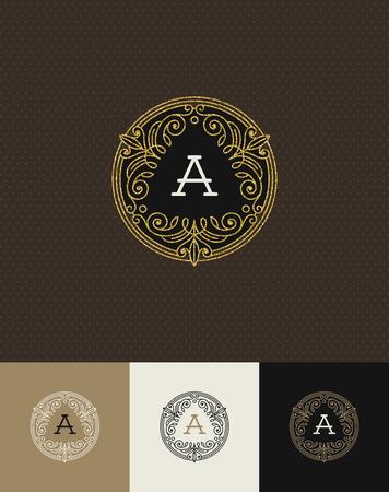 royal wedding: Vector design - flourishes glitter gold monogram logo. Identity design for cafe, shop, store, restaurant, boutique, hotel, heraldic, fashion and etc. Illustration