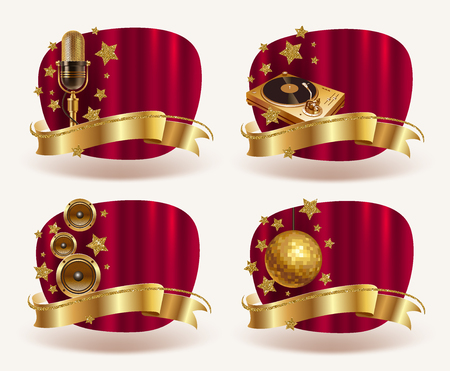 music: Red banners with golden musical equipment, golden ribbon and stars. Vector illustration.