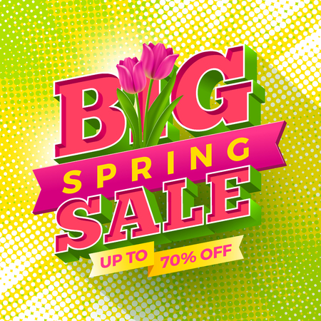 shop sign: Spring sale sign with tulips flowers on a halftone background. Vector illustration.