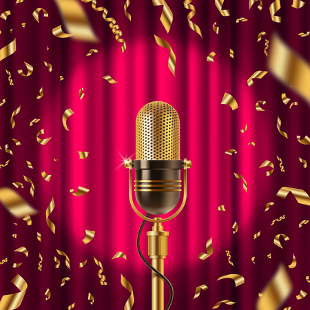 Retro microphone on stage in spotlight against the background of red curtain and golden confetti. Vector illustration
