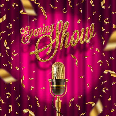 curtain background: Evening show golden signboard and Retro microphone on stage in spotlight against the background of red curtain and golden confetti. Vector illustration.