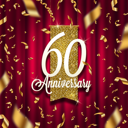 Anniversary golden signboard in spotlight on red curtain background and golden confetti. Vector illustration.