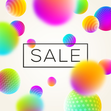 Abstract background with sale banner and multicolored spheres. Vector illustration. Vettoriali