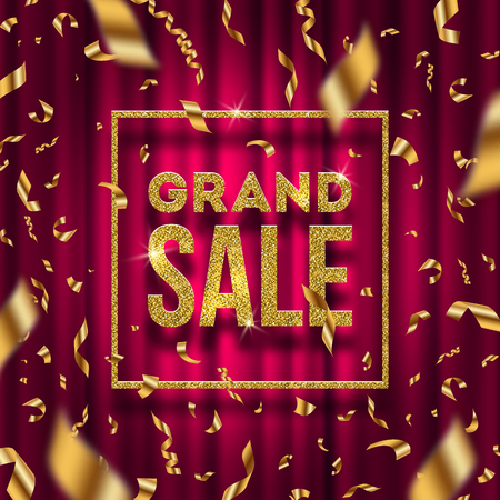 holiday shopping: Glitter gold grand sale sign and falling golden foil confetti on a red curtain background. Vector illustration.