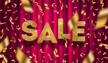big: Glitter gold grand sale sign and falling golden foil confetti on a red curtain background. Vector illustration.