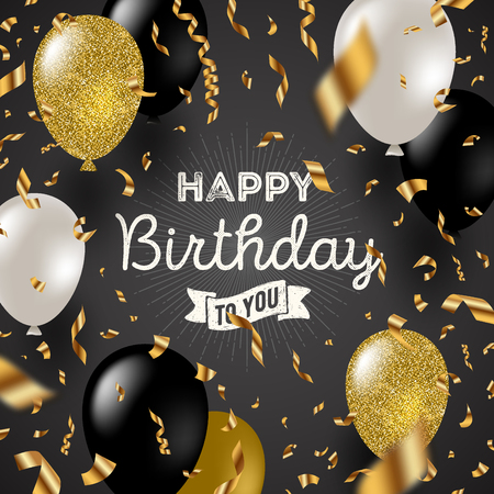 celebration party: Happy birthday vector illustration - Golden foil confetti and black, white and glitter gold balloons.