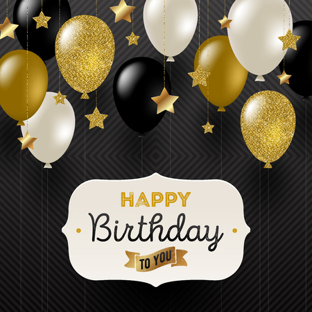decoration: Vector illustration - Frame with birthday greeting , Golden stars and black, white and glitter gold balloons.