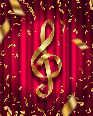 shiny: Gold ribbon in the shape of treble clef and golden foil confetti on a red curtain background - vector illustration Illustration