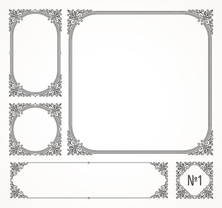 fashion: Set of flourishes calligraphic elegant ornamental frames - vector illustration. Identity design for cafe, shop, store, restaurant, boutique, hotel, heraldic, fashion or business card and etc.