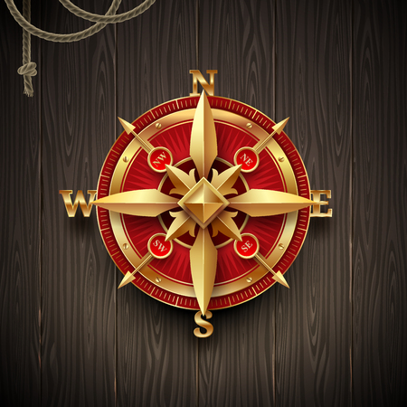 Golden ancient compass rose on a wooden plank background. Vector illustration. Illustration