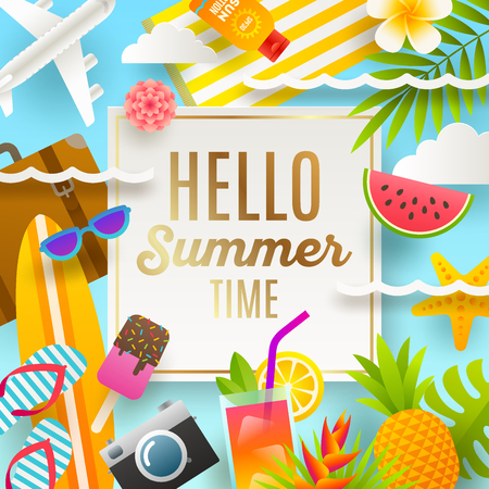 Flat design vector illustration. Summer holidays and beach vacation things and items. Vektorové ilustrace