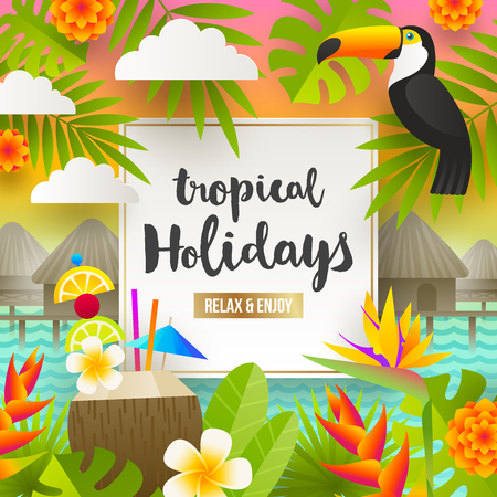 Flat vector design. Tropical holidays and beach vacation illustration. Illustration