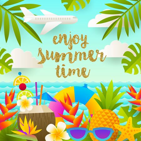 palm: Flat vector design. Tropical holidays and beach vacation illustration. Illustration