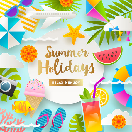 Flat design vector illustration. Summer holidays and beach vacation things and items.