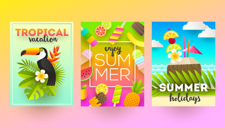 palm: Set of summer holidays and tropical vacation  posters or greeting card. Vector flat design.