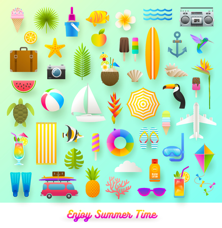 fruit: Set of summer vacation and travel items. Flat vector illustration.