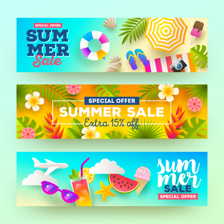 big: Set of summer sale banners. Vacation, holidays and travel colorful bright background. Vector illustration.