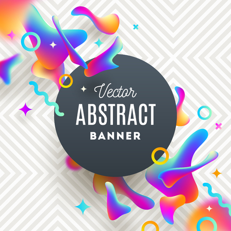 waves: Abstract background with fluid multicolored drops and round banner for message.
