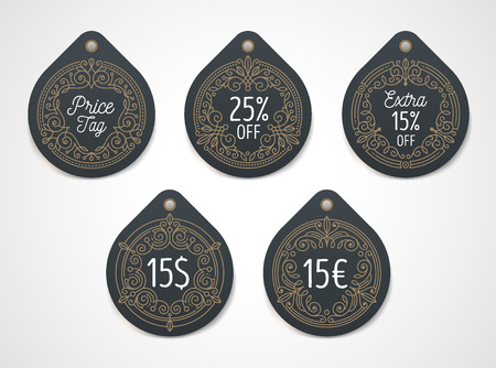 big: Set of price tag and discount label with flourishes decor. Vector illustration. Illustration