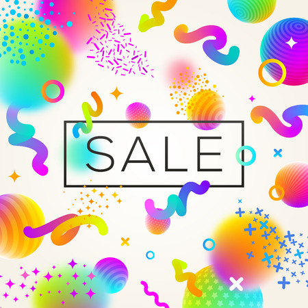 big: Vector illustration. Abstract festive multicolored background with sale banner. Illustration