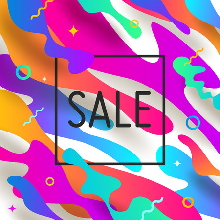 Vector illustration. Abstract shape multicolored background with sale banner.