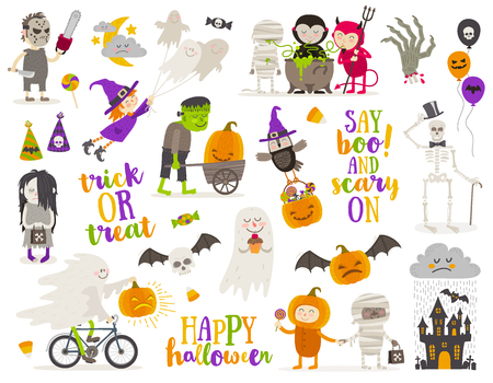 people: Set of halloween sign, symbol, objects, items and cartoon characters. Vector illustration.