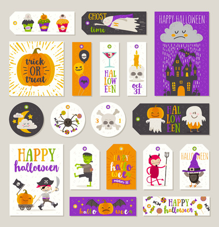 people: Set of Halloween gift tags and labels with cartoon characters, greetings, holiday sign and symbol. Vector illustration.
