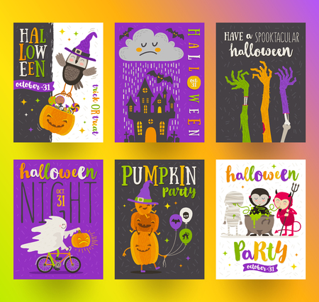 owl illustration: Set of Halloween posters or greeting card with cartoon characters, holiday sign, symbols and type design. Vector illustration.