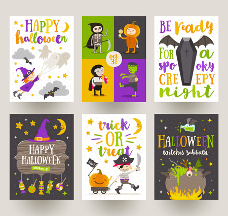people: Set of Halloween posters or greeting card with cartoon characters, holiday sign, symbols and type design. Vector illustration.