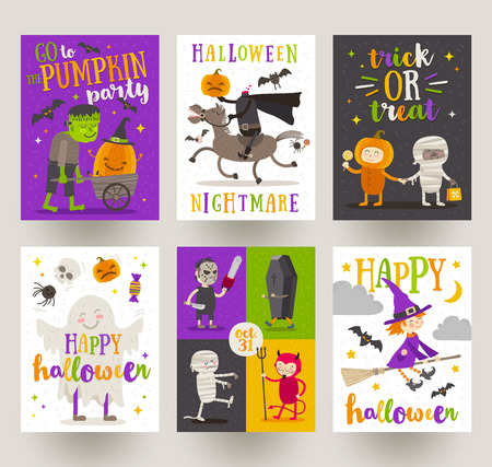 Set Of Halloween Posters Or Greeting Card With Cartoon Characters