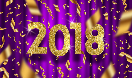 New year 2018 vector illustration. Glitter gold numbers and golden foil confetti on a purple curtain background.
