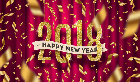 Happy New year 2018 greeting vector illustration. Glitter gold numbers and golden foil confetti on a red curtain background.