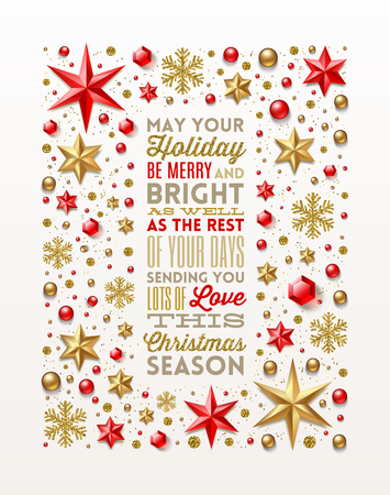Christmas greeting type design in frame.  イラスト・ベクター素材