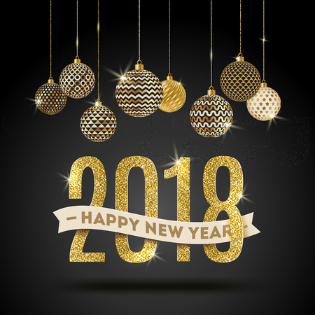 Happy New Year 2018 greeting card design.