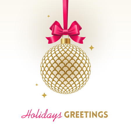 Christmas greeting card - ornate Christmas glitter gold ball with pink bow on a white background. Vector illustration.