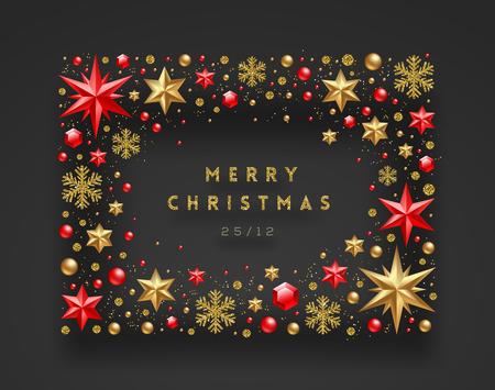 クリスマスのグリーティングイラスト。フレームは星から作られ、ルビーの宝石黄金の雪片、ビーズとキラキラゴールド。ベクターイラスト。